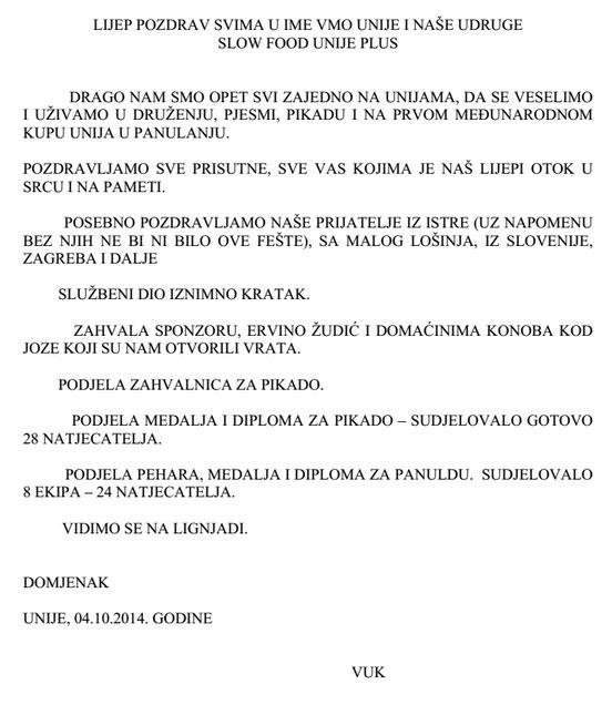 Panulada 2014 - pozdrav